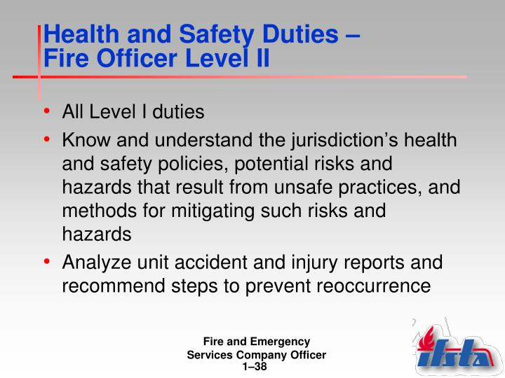 Health and Safety Duties –