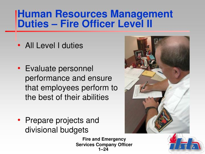 Human Resources Management Duties – Fire Officer Level II