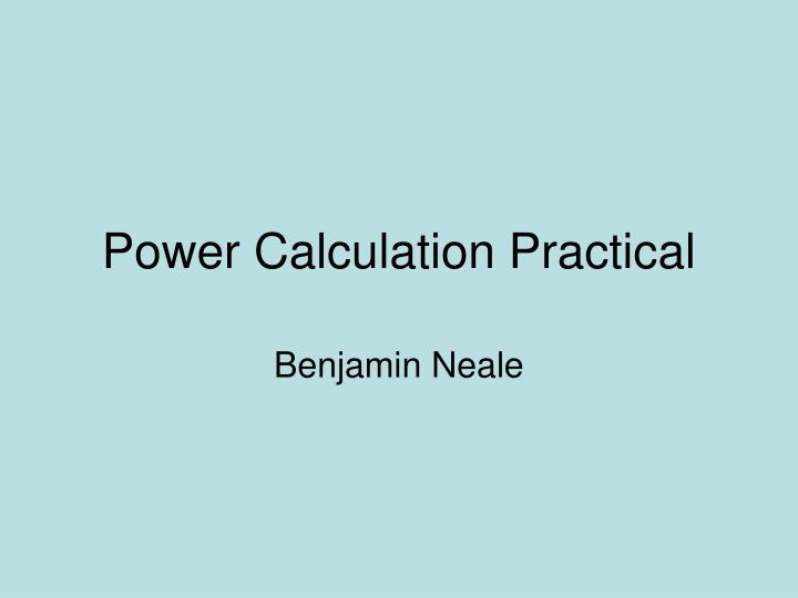 power calculation practical