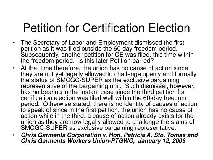 Petition for Certification Election