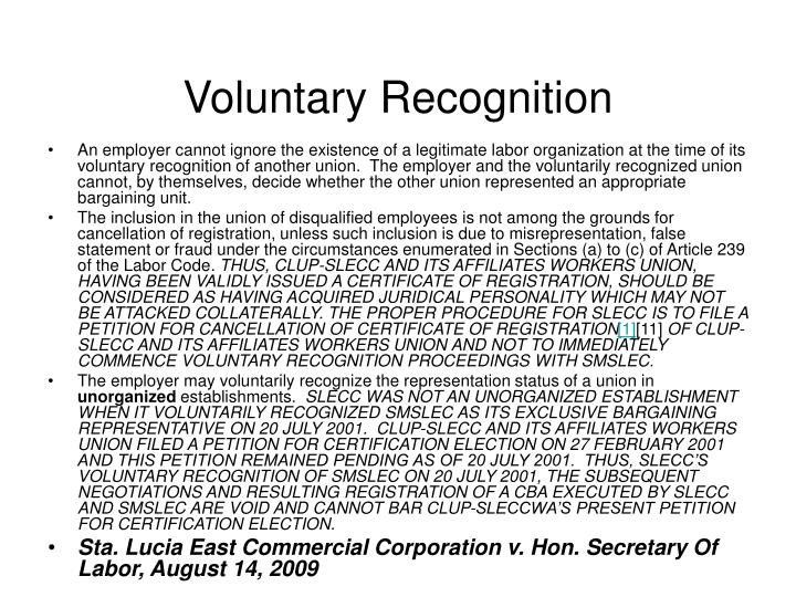Voluntary Recognition