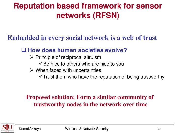 Reputation based framework for sensor networks (RFSN)