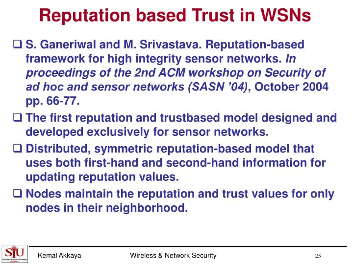 Reputation based Trust in WSNs