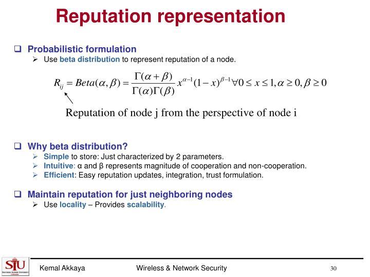 Reputation representation
