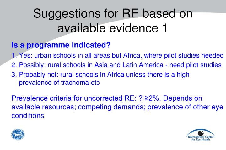 Suggestions for RE based on available evidence 1