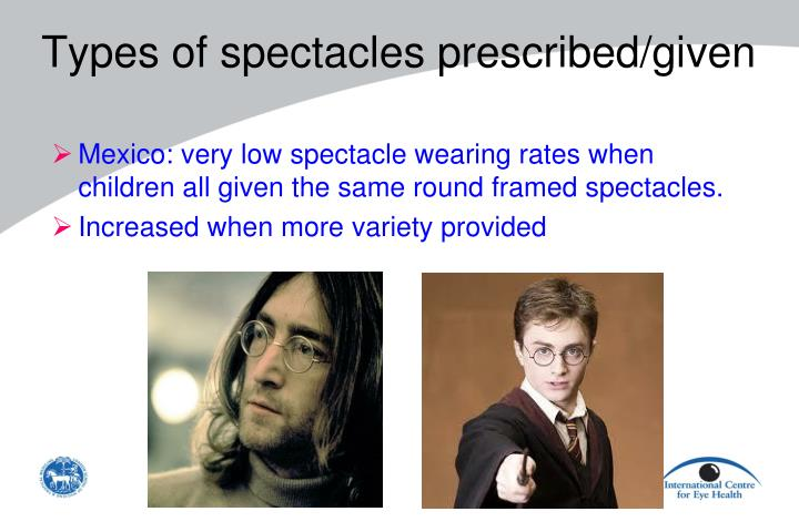 Types of spectacles prescribed/given