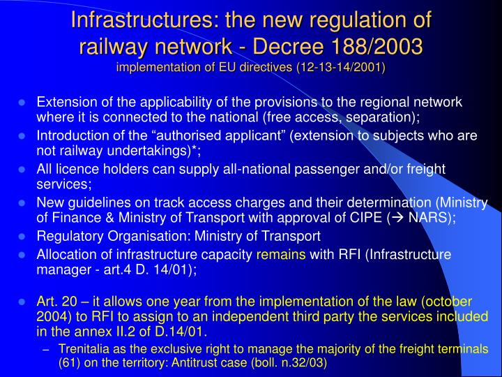 Infrastructures: the new regulation of railway network - Decree 188/2003