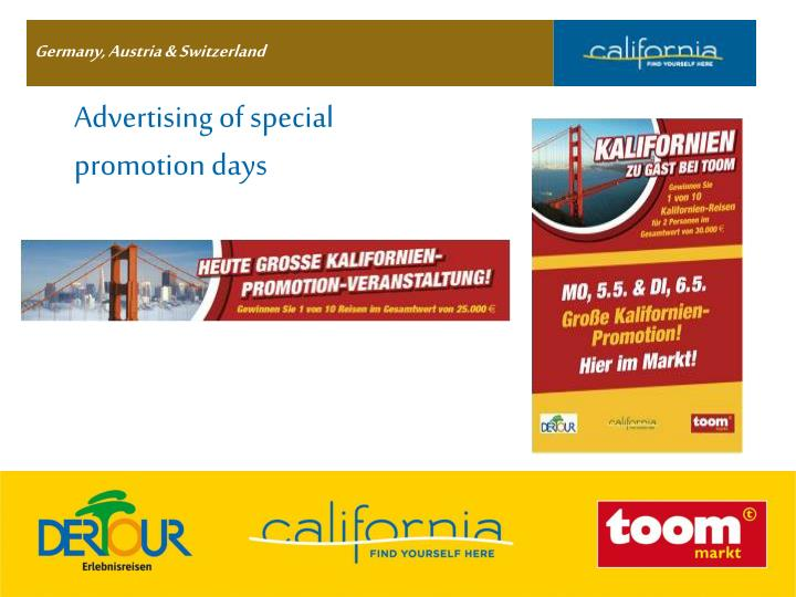 Advertising of special