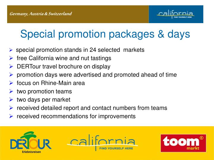 Special promotion packages & days