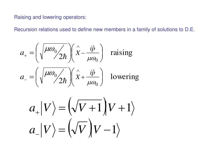 Raising and lowering operators: