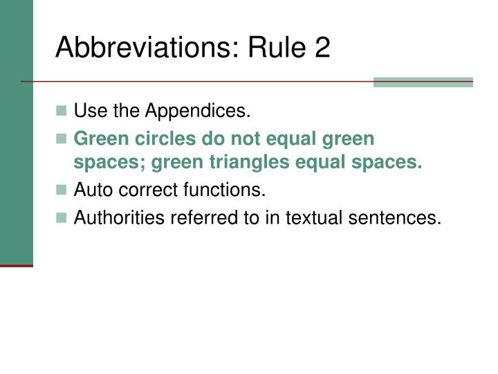 Abbreviations: Rule 2