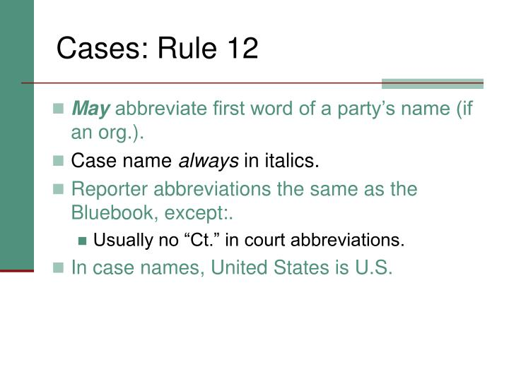 Cases: Rule 12