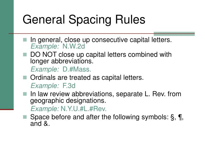 General Spacing Rules