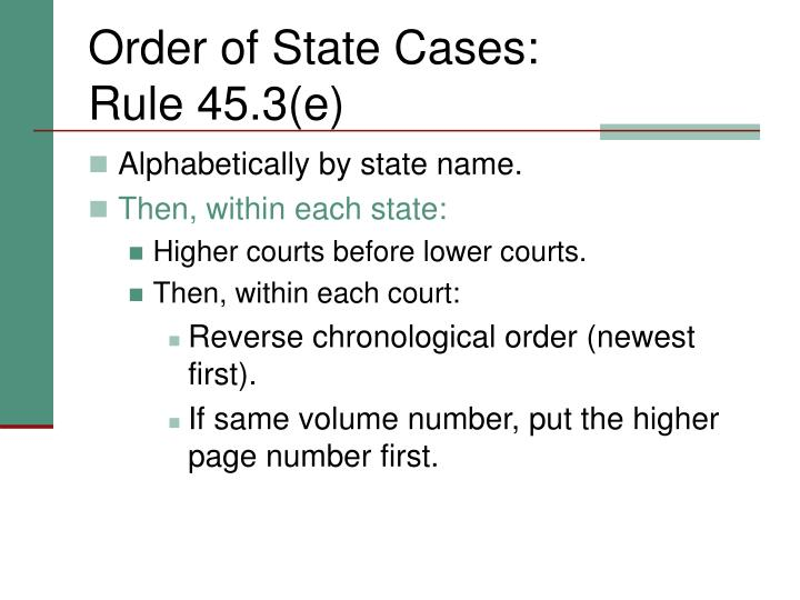 Order of State Cases: