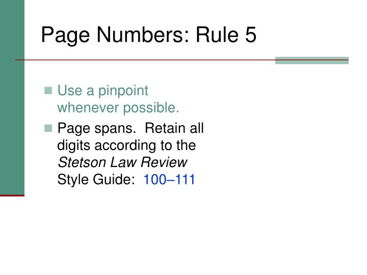 Page Numbers: Rule 5