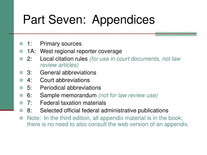Part Seven:  Appendices