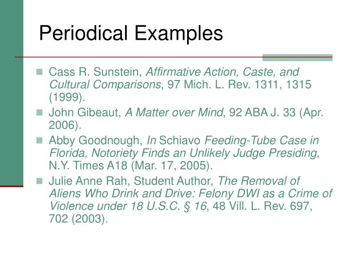 Periodical Examples