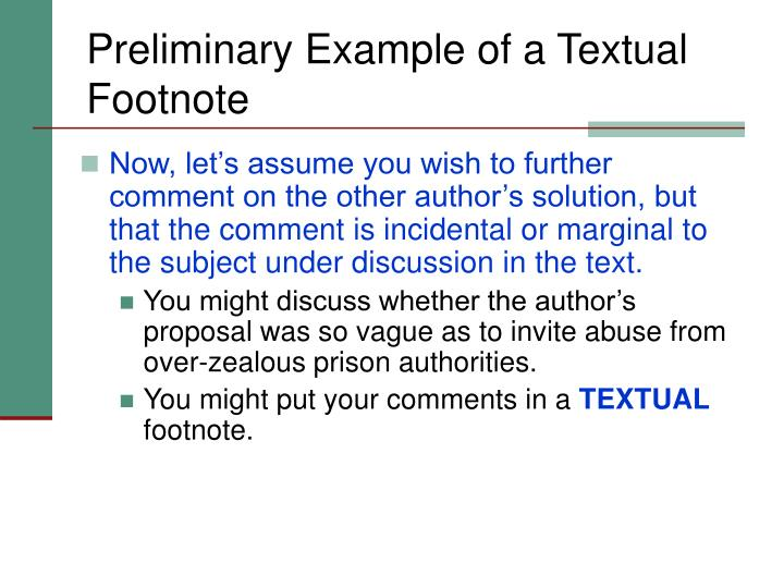 Preliminary Example of a Textual Footnote