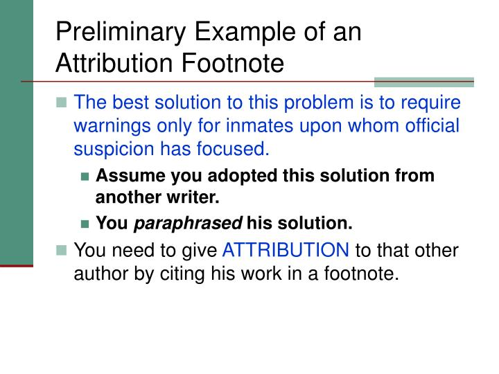 Preliminary Example of an Attribution Footnote