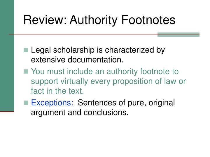 Review: Authority Footnotes