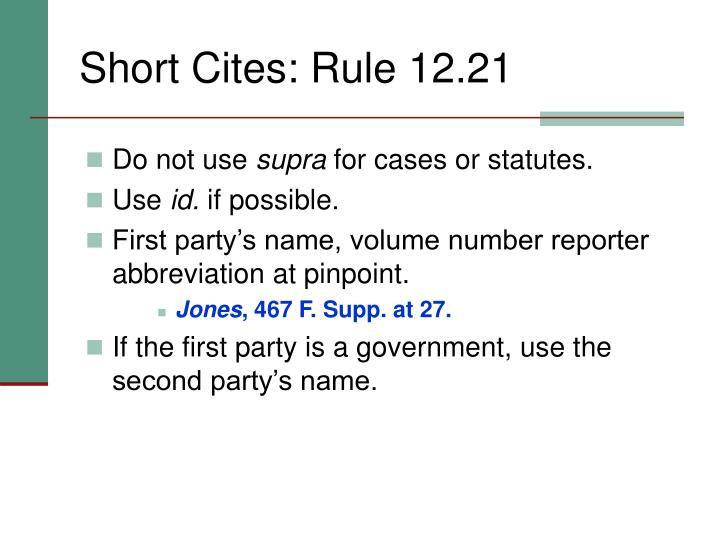 Short Cites: Rule 12.21