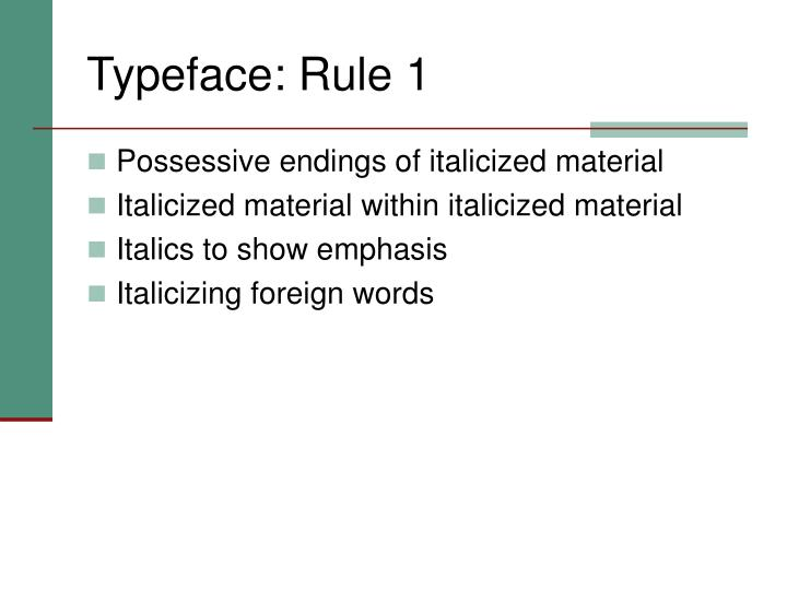 Typeface: Rule 1