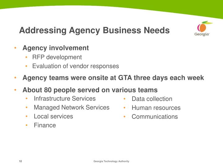 Addressing Agency Business Needs