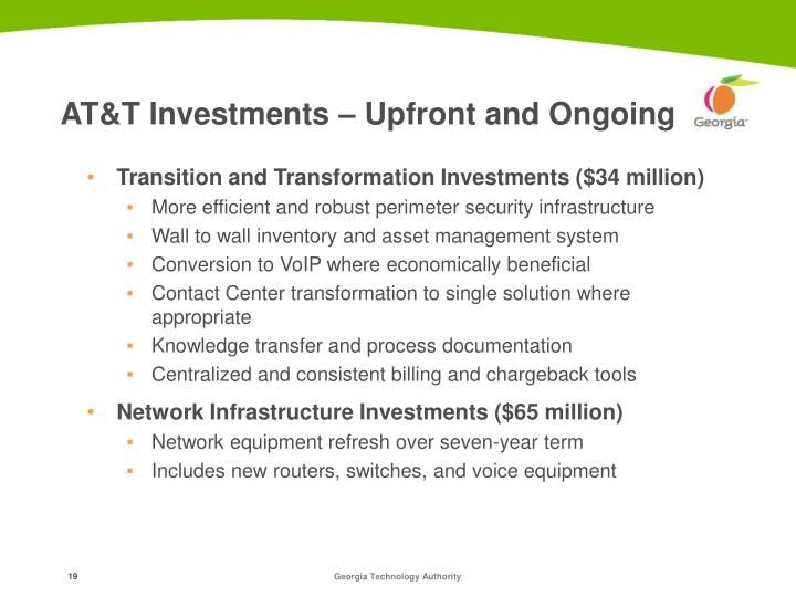 AT&T Investments – Upfront and Ongoing