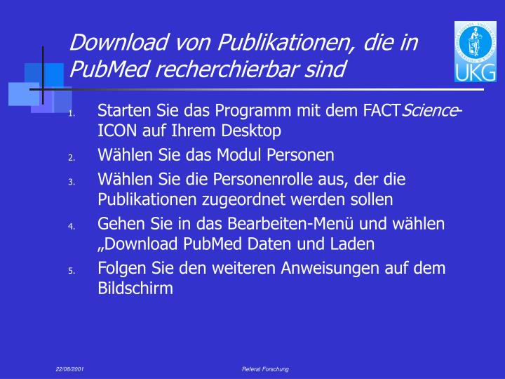 Download von Publikationen, die in PubMed recherchierbar sind
