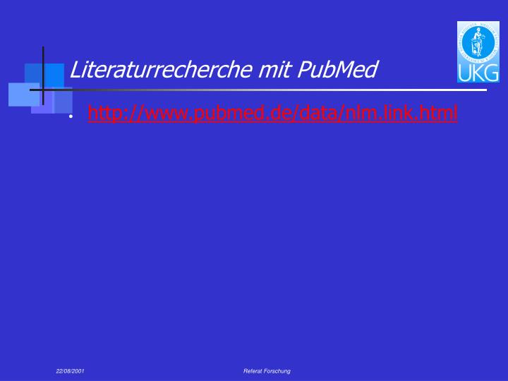Literaturrecherche mit PubMed