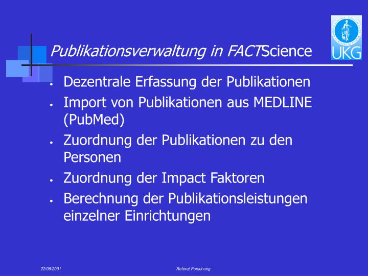 Publikationsverwaltung in FACT