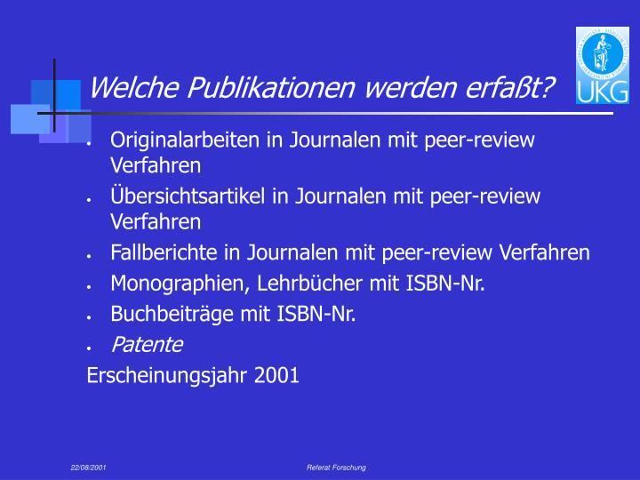 Welche Publikationen werden erfaßt?