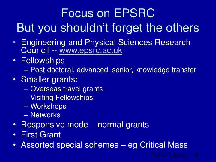 Focus on EPSRC