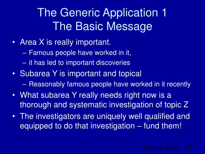 The Generic Application 1