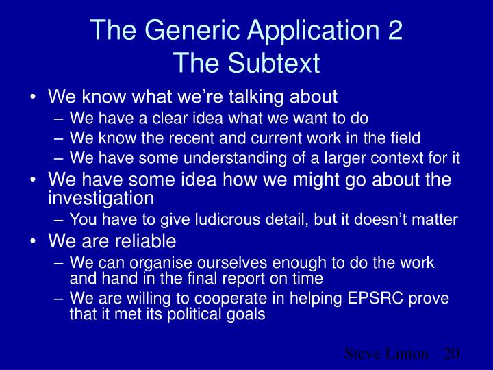 The Generic Application 2