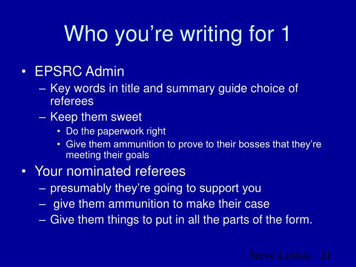 Who you're writing for 1
