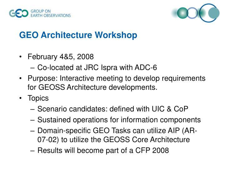 GEO Architecture Workshop