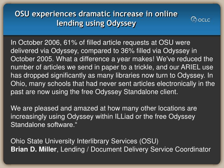 Osu experiences dramatic increase in online lending using odyssey