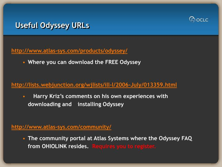 Useful Odyssey URLs
