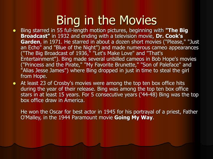 Bing in the Movies