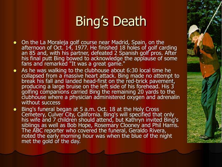 Bing's Death