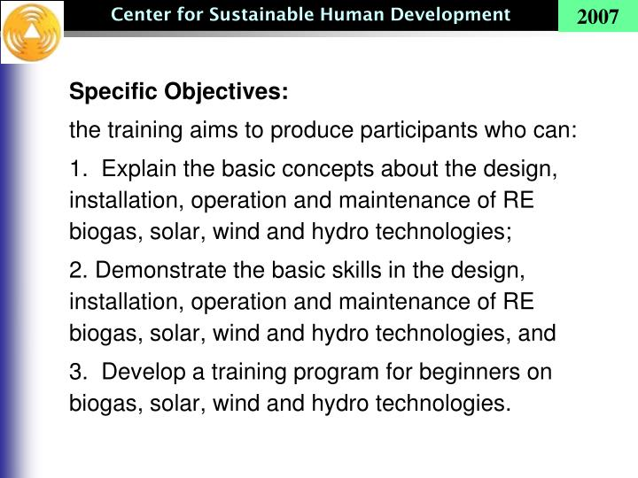Specific Objectives: