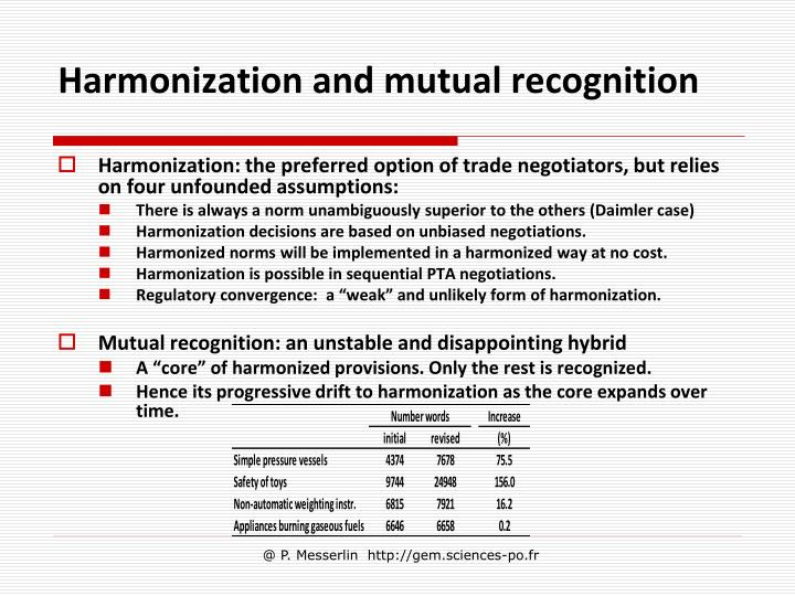 Harmonization and mutual recognition