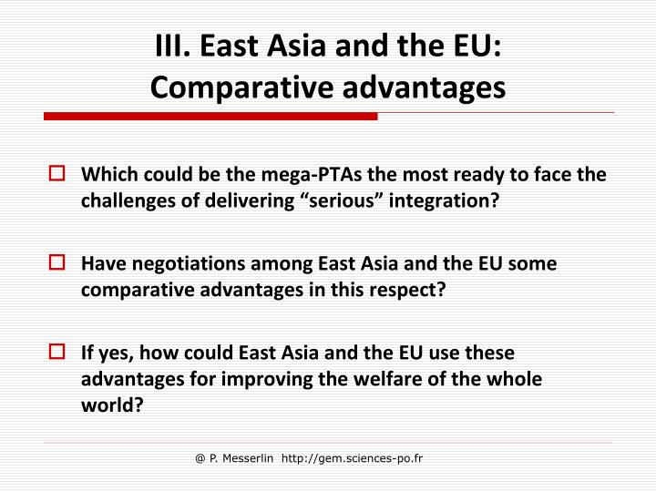 III. East Asia and the EU: