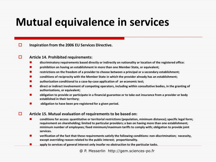 Mutual equivalence in services