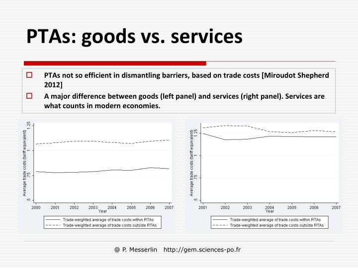 PTAs: goods vs. services