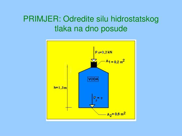 PRIMJER: Odredite silu hidrostatskog tlaka na dno posude