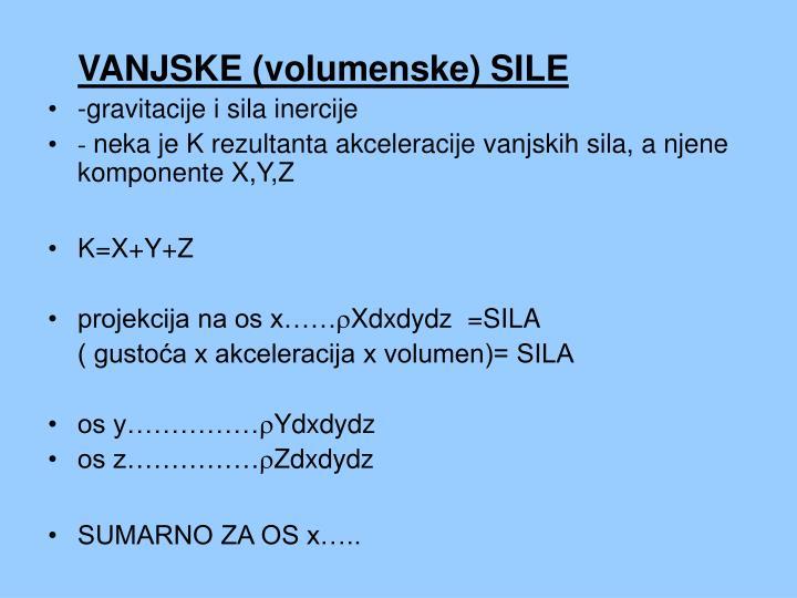 VANJSKE (volumenske) SILE