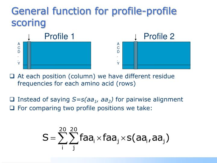 General function for profile-profile scoring