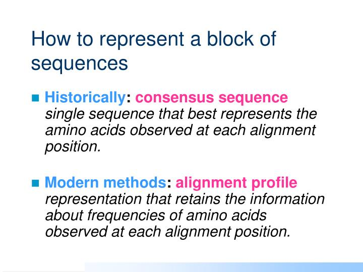 How to represent a block of sequences